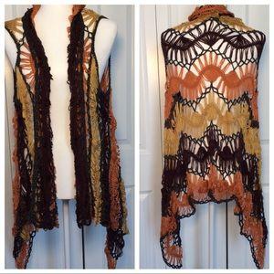 Boho Crochet Cardigan Hi Lo trim